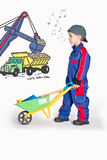 Boy with Wheelbarrow Stock Photos