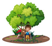 A boy with a wheelchair near the tree Royalty Free Stock Photo