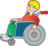 Boy in a wheelchair. A smiling boy sitting in a wheelchair Stock Photo