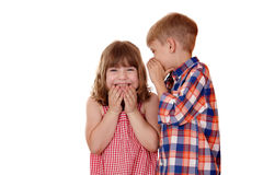 Boy whispered little girl story Royalty Free Stock Photos