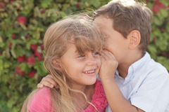 Boy whispering a secret. Young boy whispering a secret to the girl Royalty Free Stock Image