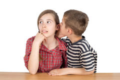 Boy Whispering Secret in Sister's Ear Isolated on White Royalty Free Stock Photos