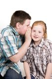 Boy whispers in girls ear royalty free stock photo