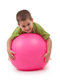 Boy whit large ball Stock Photo
