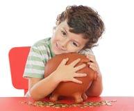 Boy whit money box stock images