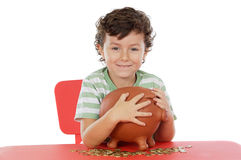 Boy whit money box Stock Photo