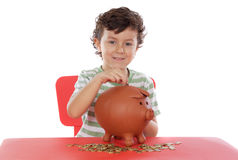 Boy whit money box Royalty Free Stock Photo
