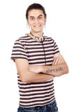 Boy whit t tattoo. Attractive casual boy whit t tattoo in the arm stock image