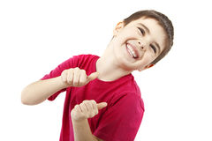 Boy on a white background. Picture of a smiling boy on a white background Stock Image