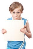 Boy on a white background with blank boad Stock Image