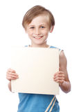 Boy on a white background with blank boad Stock Photography