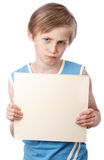 Boy on a white background with blank boad Royalty Free Stock Photography