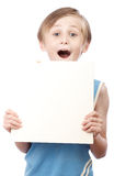 Boy on a white background with blank boad Royalty Free Stock Photos