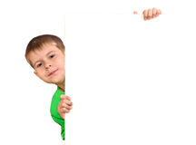 Boy with a white banner Stock Images