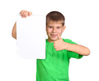 Boy with a white banner Royalty Free Stock Photography