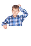 Boy with a white banner Royalty Free Stock Photo