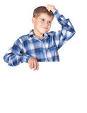 Boy with a white banner Stock Photo