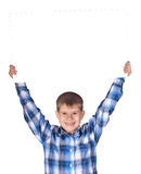 Boy with a white banner Royalty Free Stock Photos