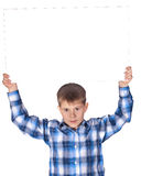 Boy with a white banner Stock Photos