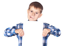 Boy with a white banner Stock Image