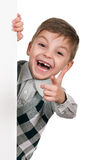 Boy with white board Stock Photography