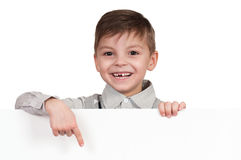 Boy with white board Stock Image