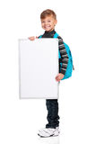 Boy with white board Stock Images