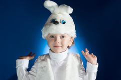 Boy of white Bunny. Boy dressed up as a new year costume of white Bunny royalty free stock image
