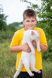 Boy with white cat Stock Photography