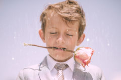 Boy in White and Grey Suit Royalty Free Stock Photography
