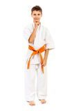 Boy in white kimono dreaming Royalty Free Stock Photos
