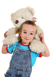 Boy with white little bear. On the white background stock photos