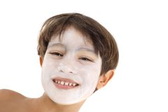 Boy with white mask Stock Photos
