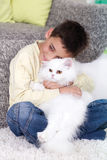 Boy with a white Persian cat at home Royalty Free Stock Photos
