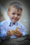Boy in white shirt Royalty Free Stock Images