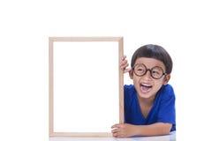 Boy with whiteboard Stock Photo