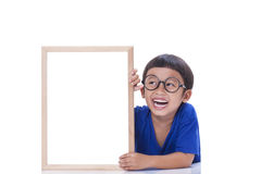 Boy with whiteboard Royalty Free Stock Image