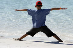 Boy at Whitehaven beach Royalty Free Stock Images
