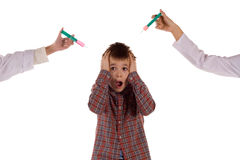 The boy who is afraid of injections Stock Photography