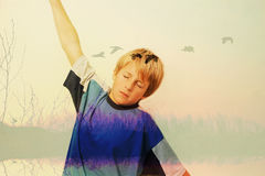 Boy who dreams and imagine flying. Like birds in the wild Royalty Free Stock Photos