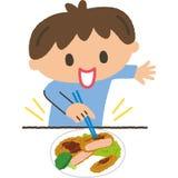 The boy who eats Stock Photo