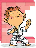 The boy, who is engaged in karate Stock Images