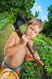 Boy who holds the ax Royalty Free Stock Photography