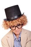 Boy, wig and hat Royalty Free Stock Image
