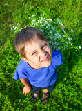 Boy with wild spring flowers Stock Photography