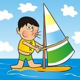 Boy and windsurfing Royalty Free Stock Photography