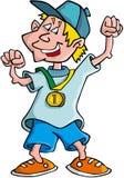 Boy Winner. Cartoon artwork line-art stock illustration
