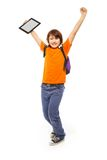 Boy after winning all levels in game. Happy and surprised Caucasian 11 years old girl with tablet computer, isolated on white Royalty Free Stock Photography