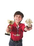 Boy winning in competition Stock Image