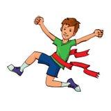 Boy winning a race Stock Photo